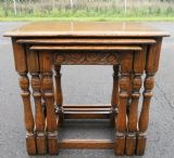 SOLD - Nest of Three Antique Style Oak Coffee Tables